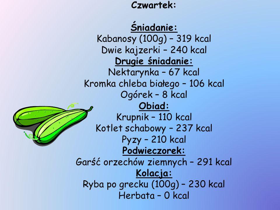 Czwartek: Śniadanie: Kabanosy (100g) – 319 kcal Dwie kajzerki – 240 kcal Drugie śniadanie: Nektarynka – 67 kcal Kromka chleba białego – 106 kcal Ogóre