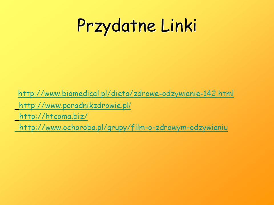 Przydatne Linki http://www.biomedical.pl/dieta/zdrowe-odzywianie-142.html http://www.poradnikzdrowie.pl / http://www.poradnikzdrowie.pl / http://htcoma.biz/ http://www.ochoroba.pl/grupy/film-o-zdrowym-odzywianiu