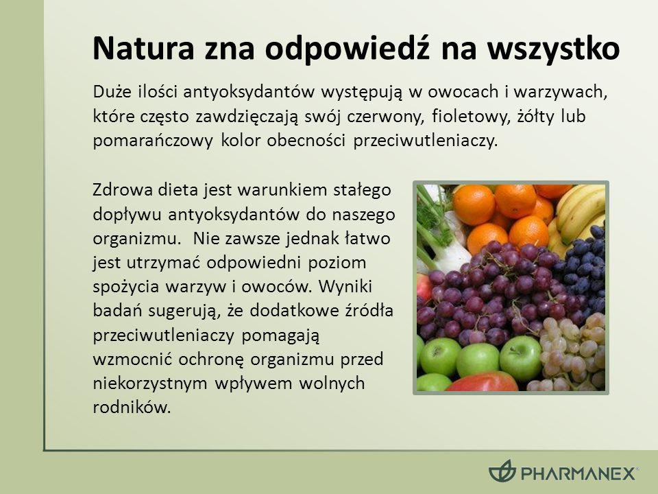 Duże ilości antyoksydantów występują w owocach i warzywach, które często zawdzięczają swój czerwony, fioletowy, żółty lub pomarańczowy kolor obecności