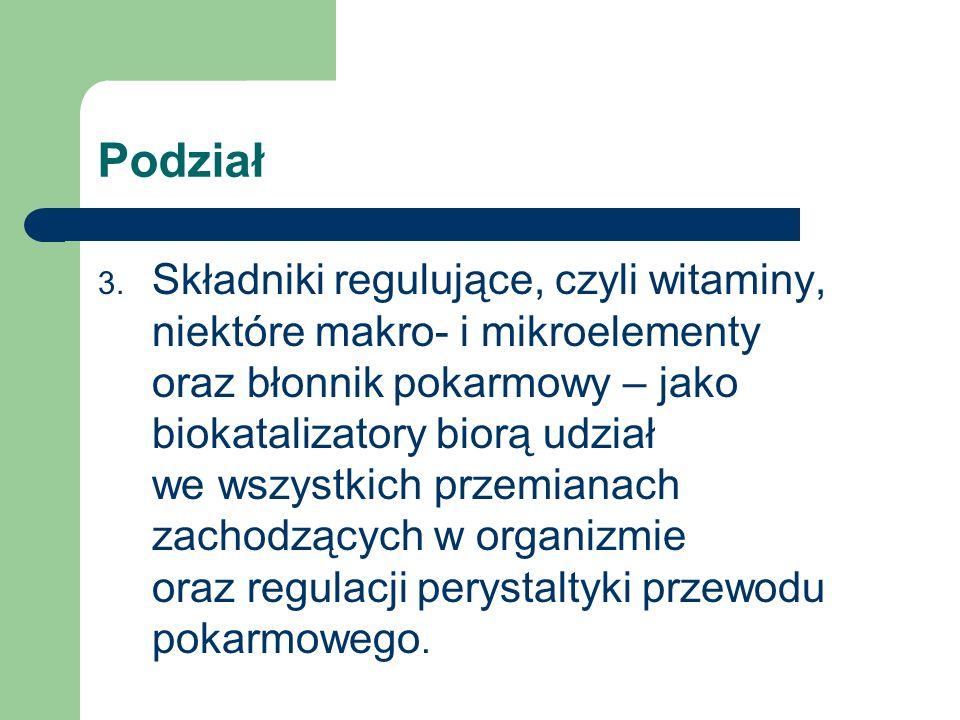 Podział 3. Składniki regulujące, czyli witaminy, niektóre makro- i mikroelementy oraz błonnik pokarmowy – jako biokatalizatory biorą udział we wszystk