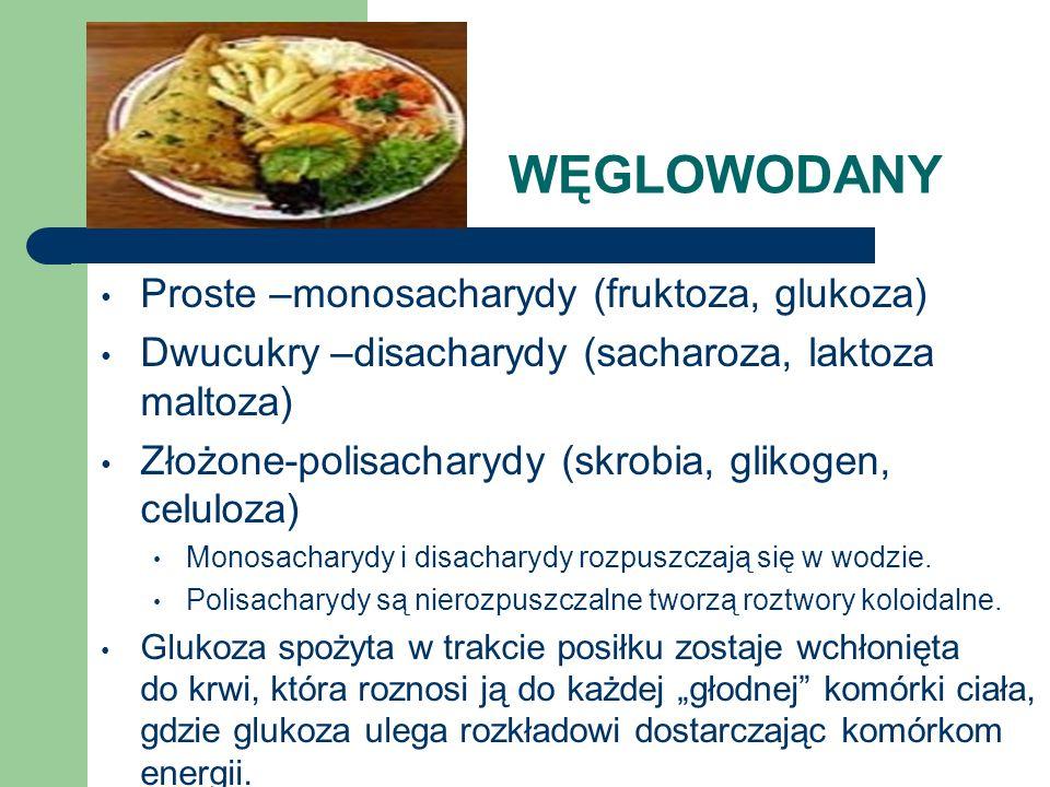 WĘGLOWODANY Proste –monosacharydy (fruktoza, glukoza) Dwucukry –disacharydy (sacharoza, laktoza maltoza) Złożone-polisacharydy (skrobia, glikogen, cel