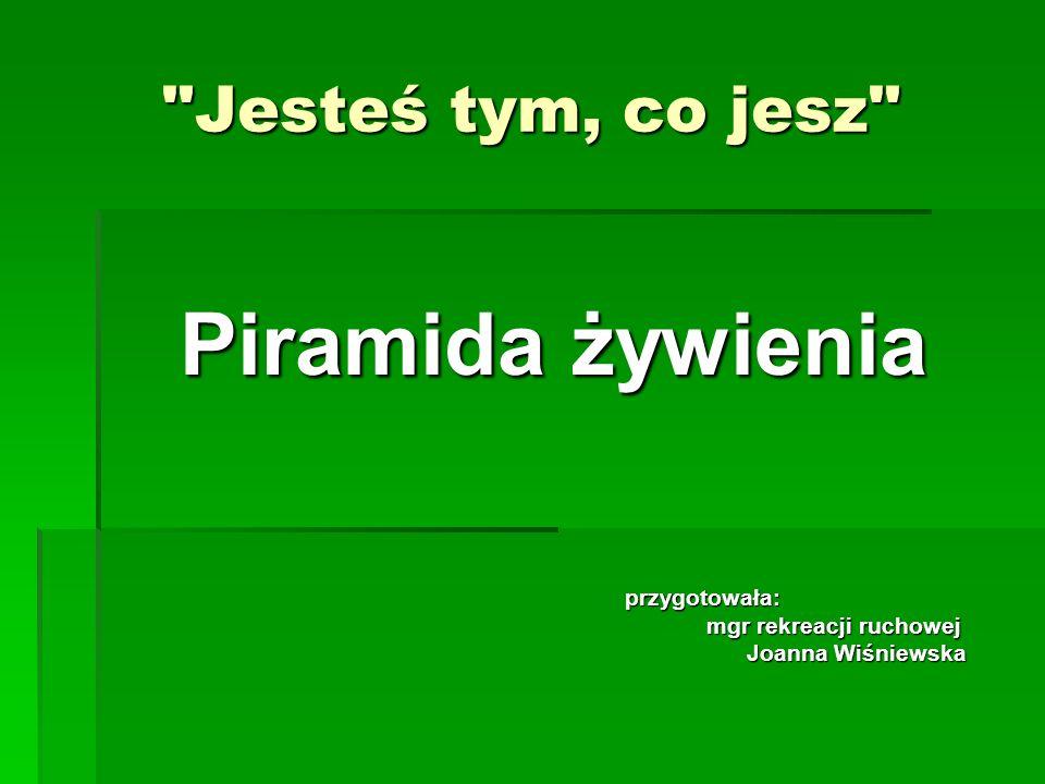Jesteś tym, co jesz Piramida żywienia przygotowała: przygotowała: mgr rekreacji ruchowej mgr rekreacji ruchowej Joanna Wiśniewska Joanna Wiśniewska
