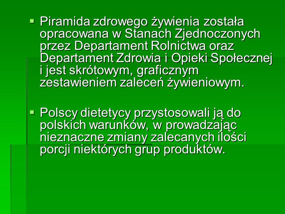 W Polsce przyjmuje się, że codzienne zrównoważone pożywienie powinno zawierać: 5 porcji produktów zbożowych pełnoziarnistych 5 porcji produktów zbożowych pełnoziarnistych 4 porcje warzyw 4 porcje warzyw 3 porcje owoców 3 porcje owoców 2 porcje mleka i przetworów mlecznych (zwłaszcza jogurtów i serów białych) 2 porcje mleka i przetworów mlecznych (zwłaszcza jogurtów i serów białych) 1 porcję mięsa lub produktów zamiennych (ryby, jaja, rośliny strączkowe, orzechy) 1 porcję mięsa lub produktów zamiennych (ryby, jaja, rośliny strączkowe, orzechy)