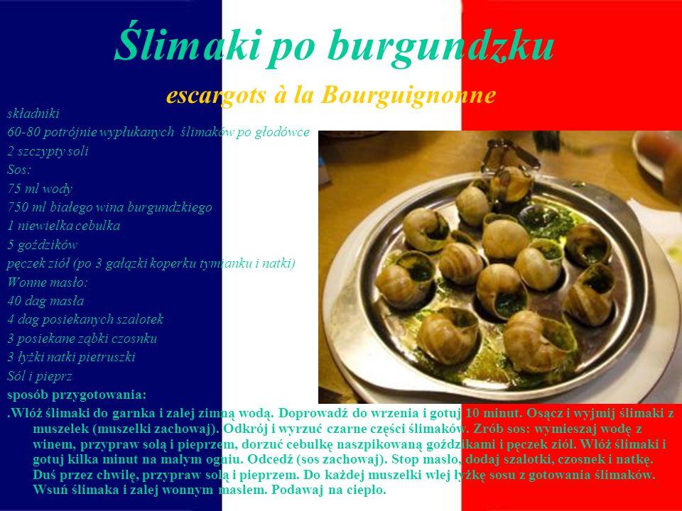 Sposób podawania Istnieją różne sposoby podawania ślimaków, w kuchni francuskiej najczęściej serwuje się je w muszli z dodatkiem masła(często czosnkow