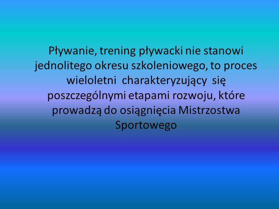 Pływanie, trening pływacki nie stanowi jednolitego okresu szkoleniowego, to proces wieloletni charakteryzujący się poszczególnymi etapami rozwoju, które prowadzą do osiągnięcia Mistrzostwa Sportowego
