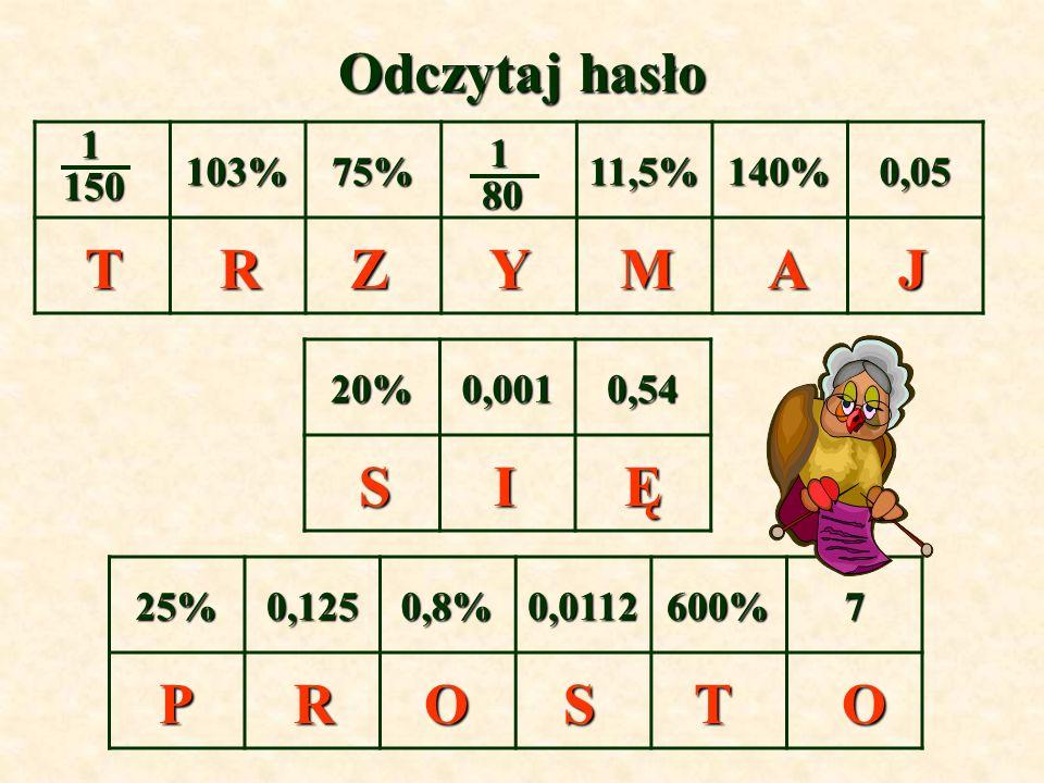 Odczytaj hasło 103%75%11,5%140%0,05 1501 80 801 20%0,0010,54 25%0,1250,8%0,0112600%7 TAJZYRM SĘI POOSRT