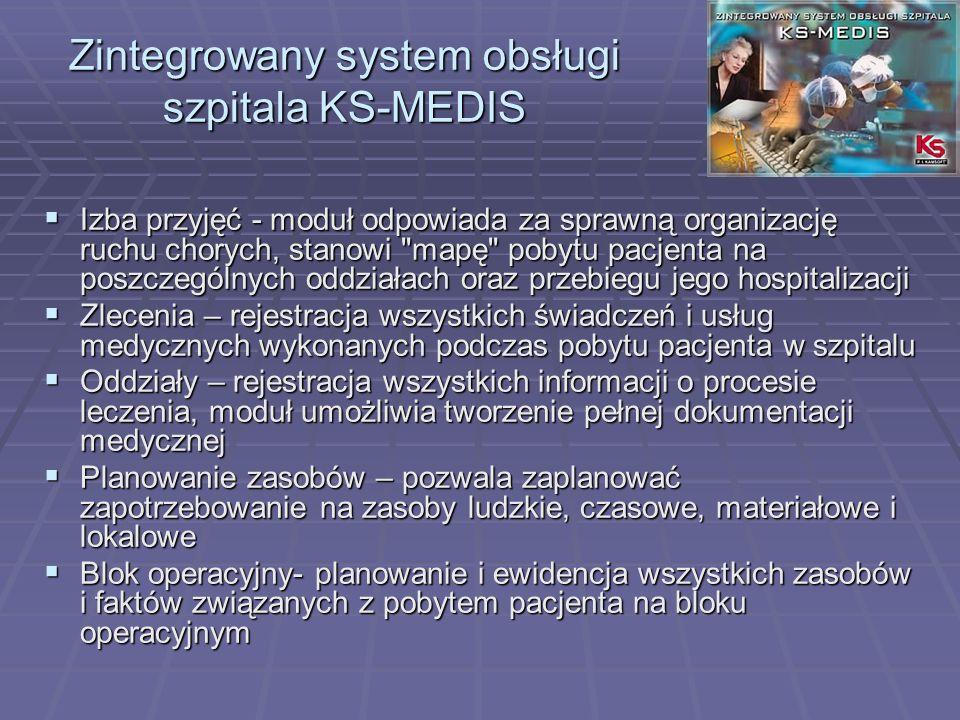 Zintegrowany system obsługi szpitala KS-MEDIS Izba przyjęć - moduł odpowiada za sprawną organizację ruchu chorych, stanowi