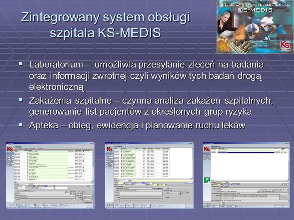 Laboratorium – umożliwia przesyłanie zleceń na badania oraz informacji zwrotnej czyli wyników tych badań drogą elektroniczną Laboratorium – umożliwia