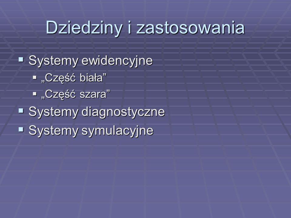 Dziedziny i zastosowania Systemy ewidencyjne Systemy ewidencyjne Część biała Część biała Część szara Część szara Systemy diagnostyczne Systemy diagnos