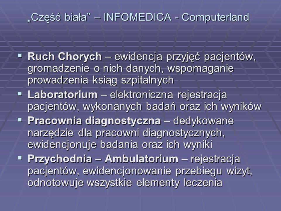 Część biała – INFOMEDICA - Computerland Ruch Chorych – ewidencja przyjęć pacjentów, gromadzenie o nich danych, wspomaganie prowadzenia ksiąg szpitalny