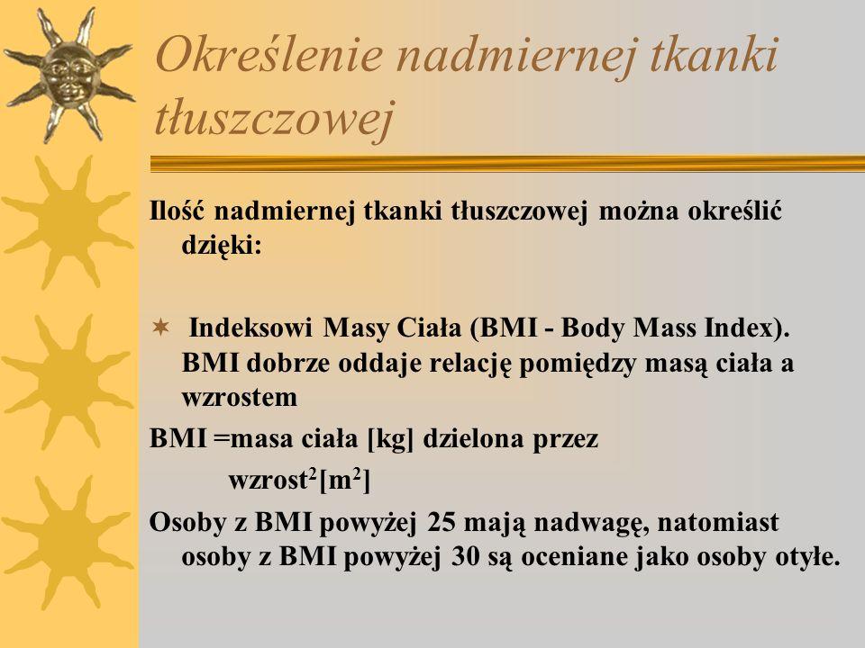 Określenie nadmiernej tkanki tłuszczowej Ilość nadmiernej tkanki tłuszczowej można określić dzięki: Indeksowi Masy Ciała (BMI - Body Mass Index). BMI