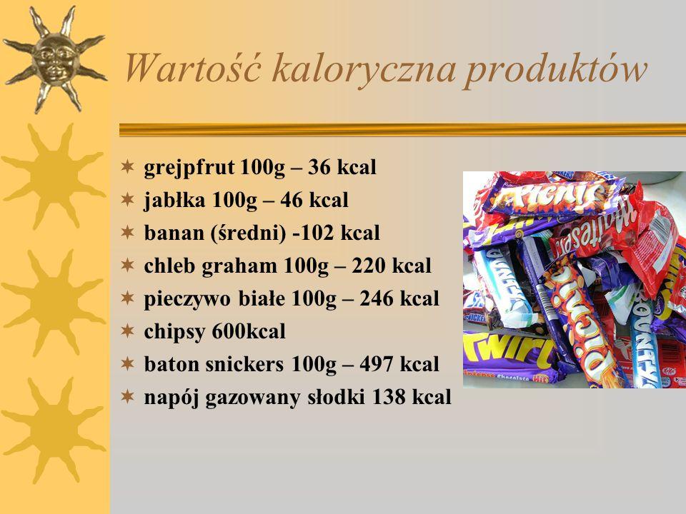 Wartość kaloryczna produktów grejpfrut 100g – 36 kcal jabłka 100g – 46 kcal banan (średni) -102 kcal chleb graham 100g – 220 kcal pieczywo białe 100g