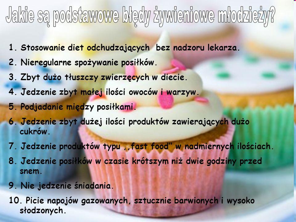 1. Stosowanie diet odchudzających bez nadzoru lekarza. 2. Nieregularne spożywanie posiłków. 3. Zbyt dużo tłuszczy zwierzęcych w diecie. 4. Jedzenie zb