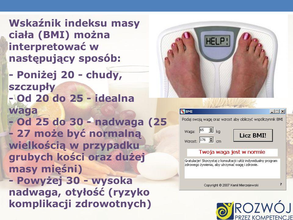 Wskaźnik indeksu masy ciała (BMI) można interpretować w następujący sposób: - Poniżej 20 - chudy, szczupły - Od 20 do 25 - idealna waga - Od 25 do 30