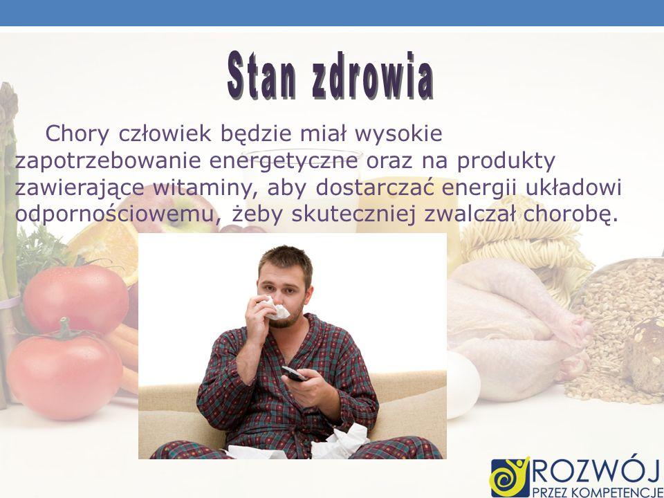 Chory człowiek będzie miał wysokie zapotrzebowanie energetyczne oraz na produkty zawierające witaminy, aby dostarczać energii układowi odpornościowemu
