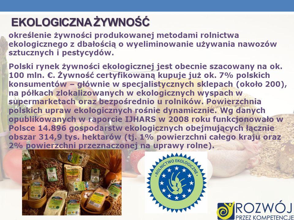EKOLOGICZNA ŻYWNOŚĆ określenie żywności produkowanej metodami rolnictwa ekologicznego z dbałością o wyeliminowanie używania nawozów sztucznych i pesty