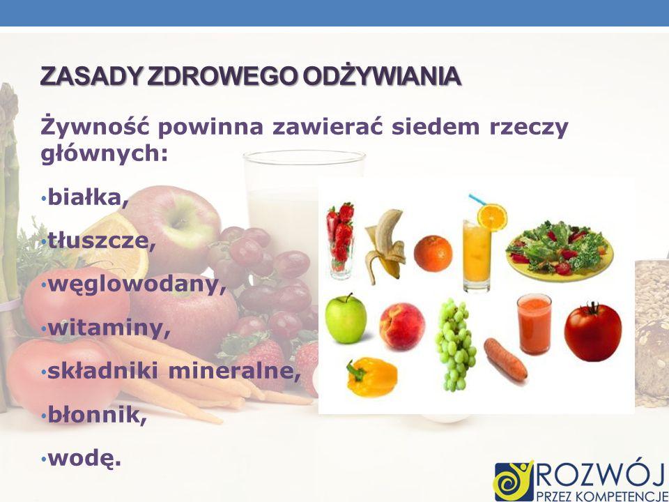ZASADY ZDROWEGO ODŻYWIANIA Żywność powinna zawierać siedem rzeczy głównych: białka, tłuszcze, węglowodany, witaminy, składniki mineralne, błonnik, wod
