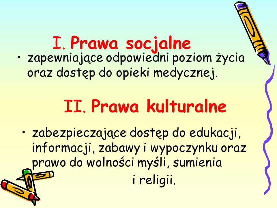 I.Prawa socjalne zapewniające odpowiedni poziom życia oraz dostęp do opieki medycznej.