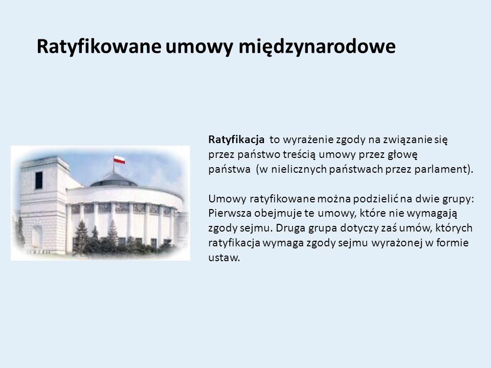 Ratyfikowane umowy międzynarodowe Ratyfikacja to wyrażenie zgody na związanie się przez państwo treścią umowy przez głowę państwa (w nielicznych państ