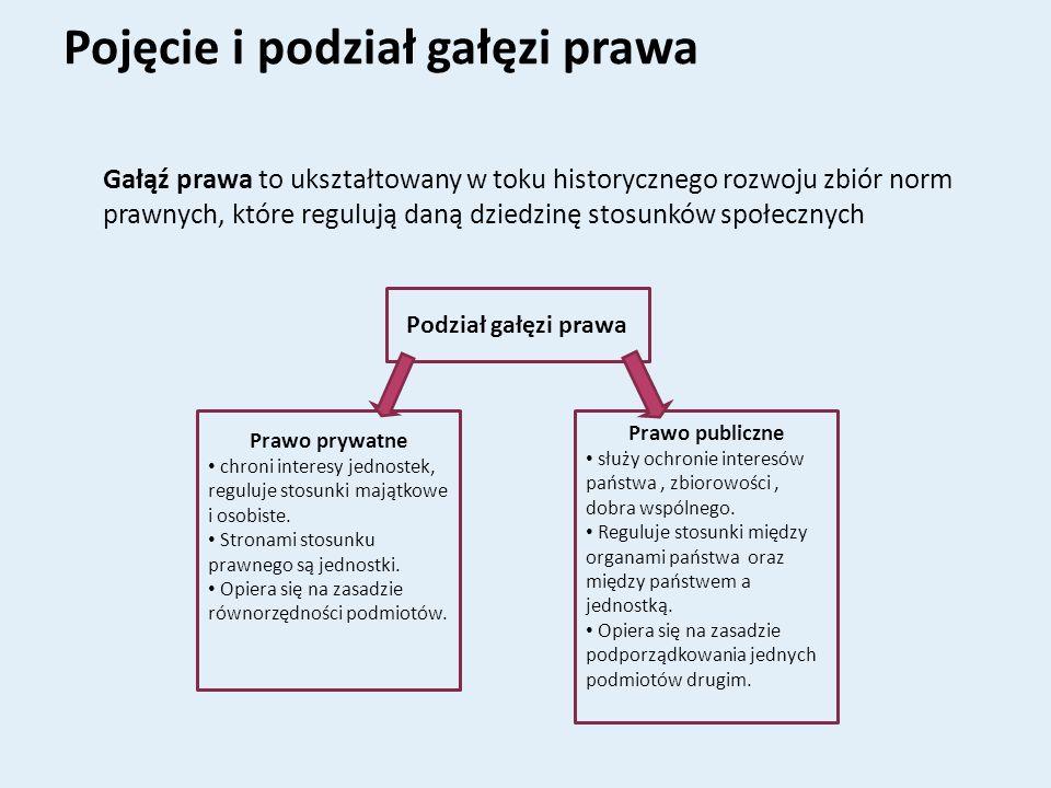 Pojęcie i podział gałęzi prawa Gałąź prawa to ukształtowany w toku historycznego rozwoju zbiór norm prawnych, które regulują daną dziedzinę stosunków