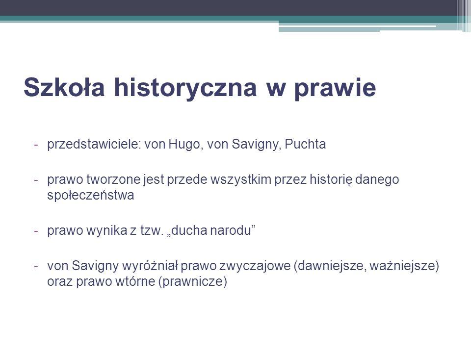 Szkoła historyczna w prawie -przedstawiciele: von Hugo, von Savigny, Puchta -prawo tworzone jest przede wszystkim przez historię danego społeczeństwa
