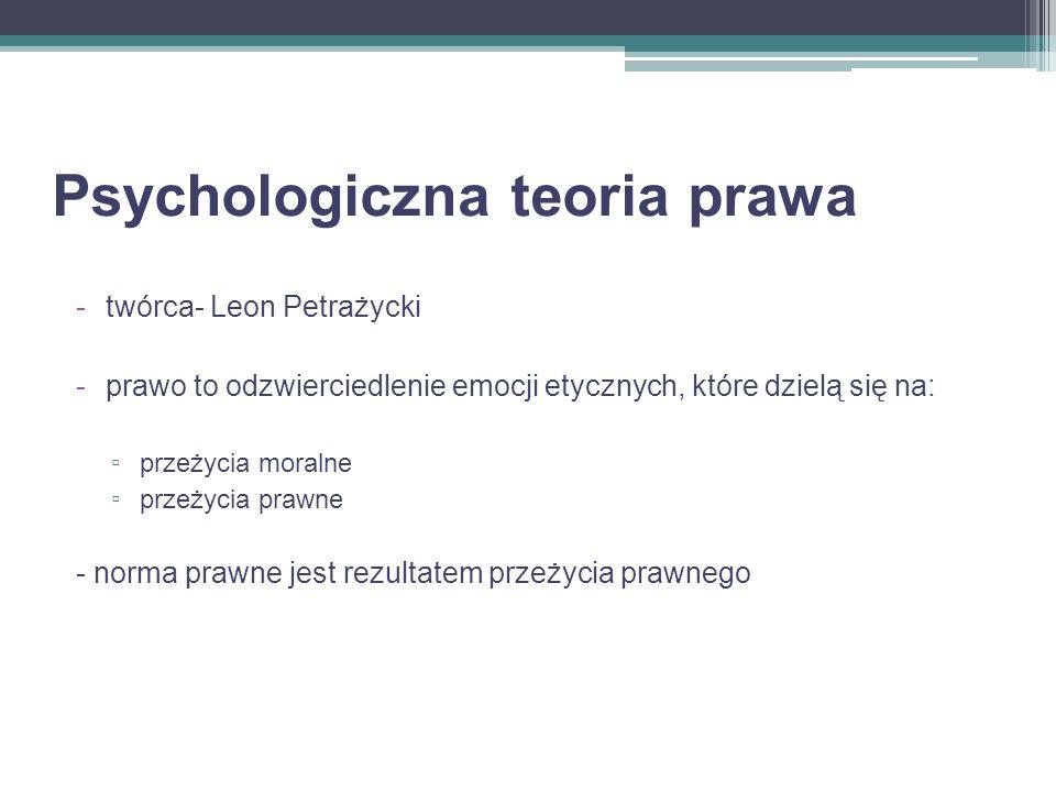 Psychologiczna teoria prawa -twórca- Leon Petrażycki -prawo to odzwierciedlenie emocji etycznych, które dzielą się na: przeżycia moralne przeżycia pra