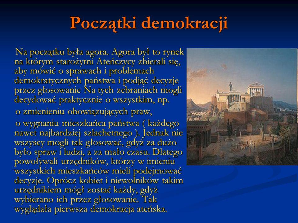 Początki demokracji Na początku była agora. Agora był to rynek na którym starożytni Ateńczycy zbierali się, aby mówić o sprawach i problemach demokrat