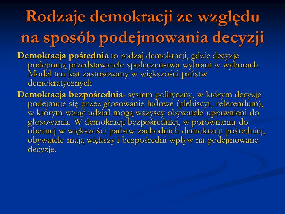 Rodzaje demokracji ze względu na sposób podejmowania decyzji Demokracja pośrednia to rodzaj demokracji, gdzie decyzje podejmują przedstawiciele społec