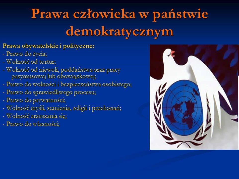Prawa człowieka w państwie demokratycznym Prawa obywatelskie i polityczne: - Prawo do życia; - Wolność od tortur; - Wolność od niewoli, poddaństwa ora