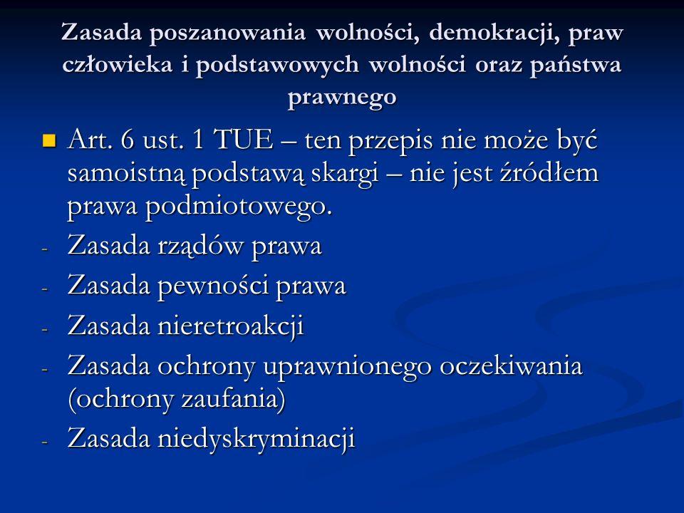 Zasada poszanowania wolności, demokracji, praw człowieka i podstawowych wolności oraz państwa prawnego Art. 6 ust. 1 TUE – ten przepis nie może być sa