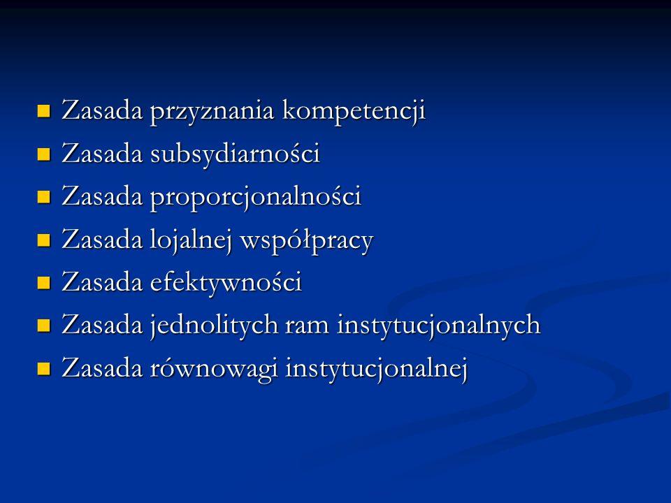 Zasada przyznania kompetencji Zasada przyznania kompetencji Zasada subsydiarności Zasada subsydiarności Zasada proporcjonalności Zasada proporcjonalno