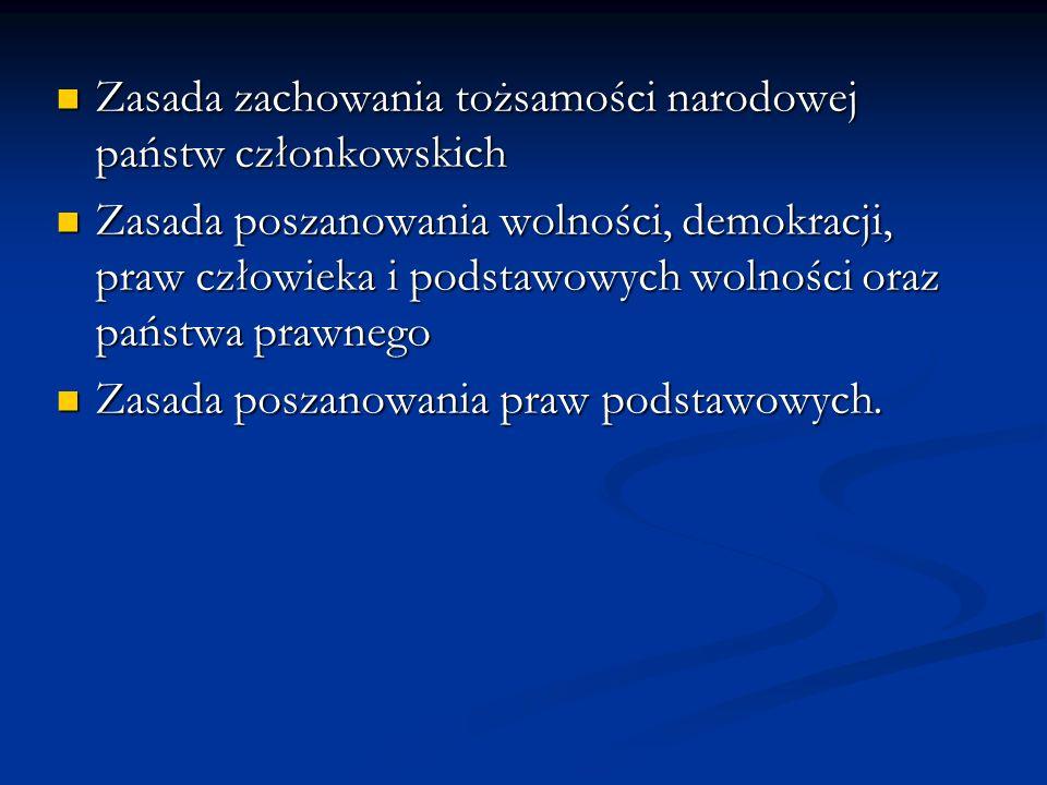 Zasada zachowania tożsamości narodowej państw członkowskich Zasada zachowania tożsamości narodowej państw członkowskich Zasada poszanowania wolności,