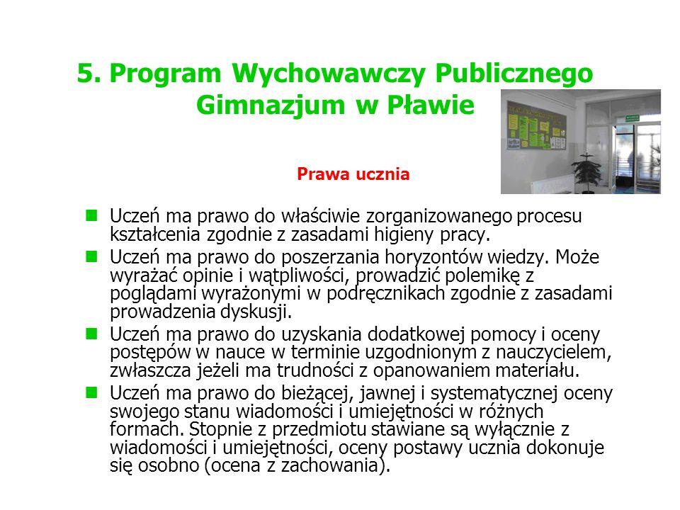 5. Program Wychowawczy Publicznego Gimnazjum w Pławie Prawa ucznia Uczeń ma prawo do właściwie zorganizowanego procesu kształcenia zgodnie z zasadami