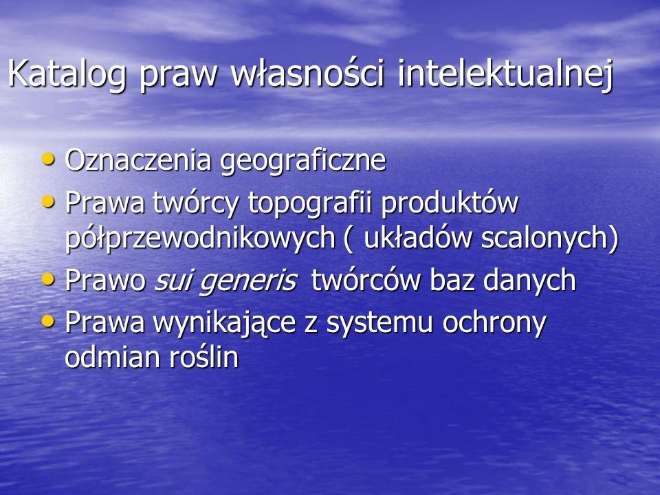 Katalog praw własności intelektualnej Oznaczenia geograficzne Oznaczenia geograficzne Prawa twórcy topografii produktów półprzewodnikowych ( układów s