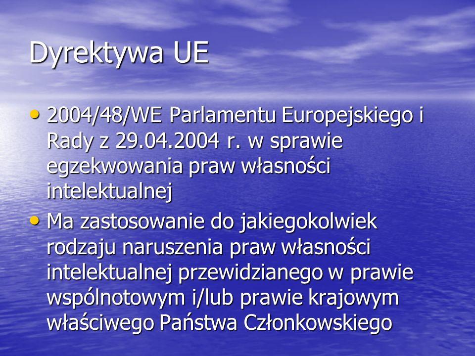 Dyrektywa UE 2004/48/WE Parlamentu Europejskiego i Rady z 29.04.2004 r. w sprawie egzekwowania praw własności intelektualnej 2004/48/WE Parlamentu Eur