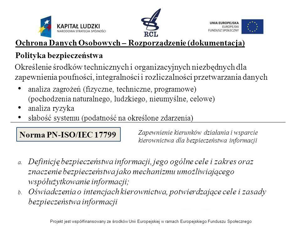 Ochrona Danych Osobowych – Rozporządzenie (dokumentacja) analiza zagrożeń (fizyczne, techniczne, programowe) (pochodzenia naturalnego, ludzkiego, nieu