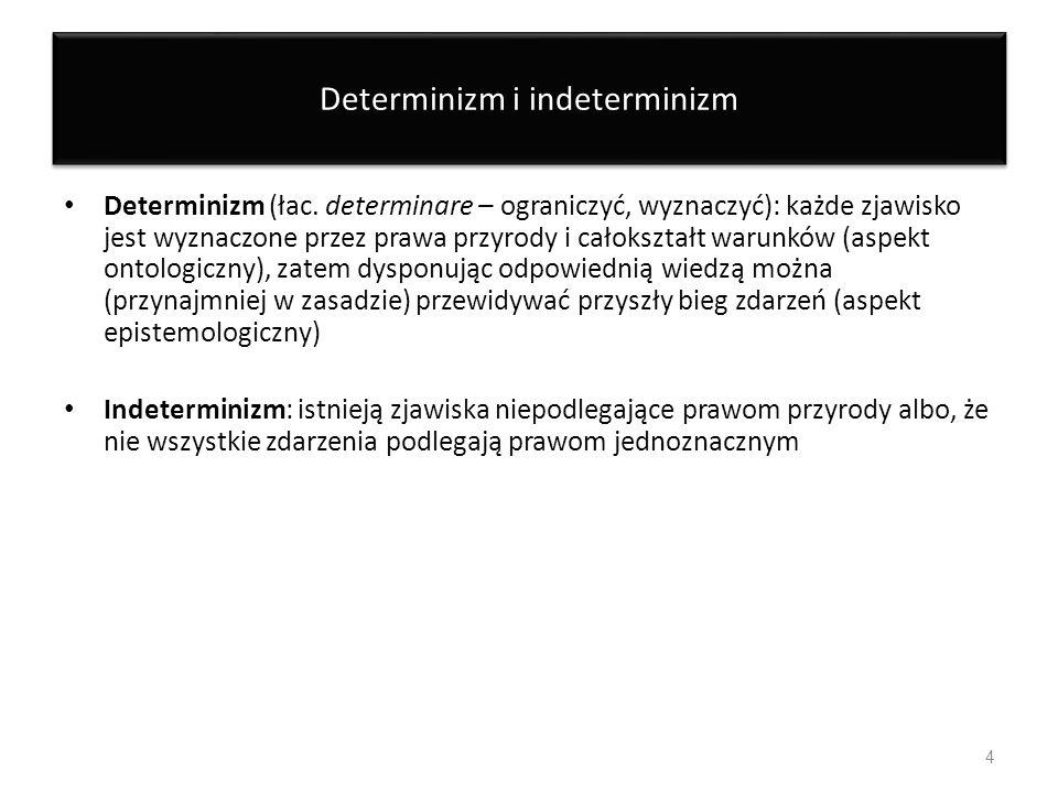 Determinizm i indeterminizm Determinizm (łac. determinare – ograniczyć, wyznaczyć): każde zjawisko jest wyznaczone przez prawa przyrody i całokształt