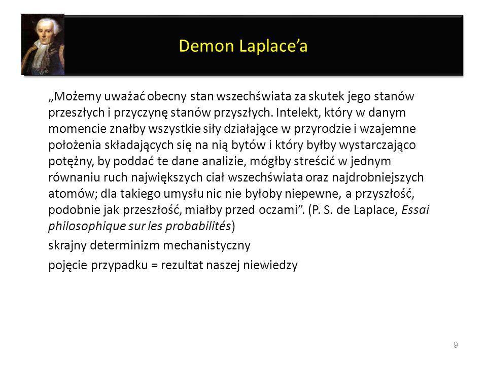 Demon Laplacea Możemy uważać obecny stan wszechświata za skutek jego stanów przeszłych i przyczynę stanów przyszłych. Intelekt, który w danym momencie