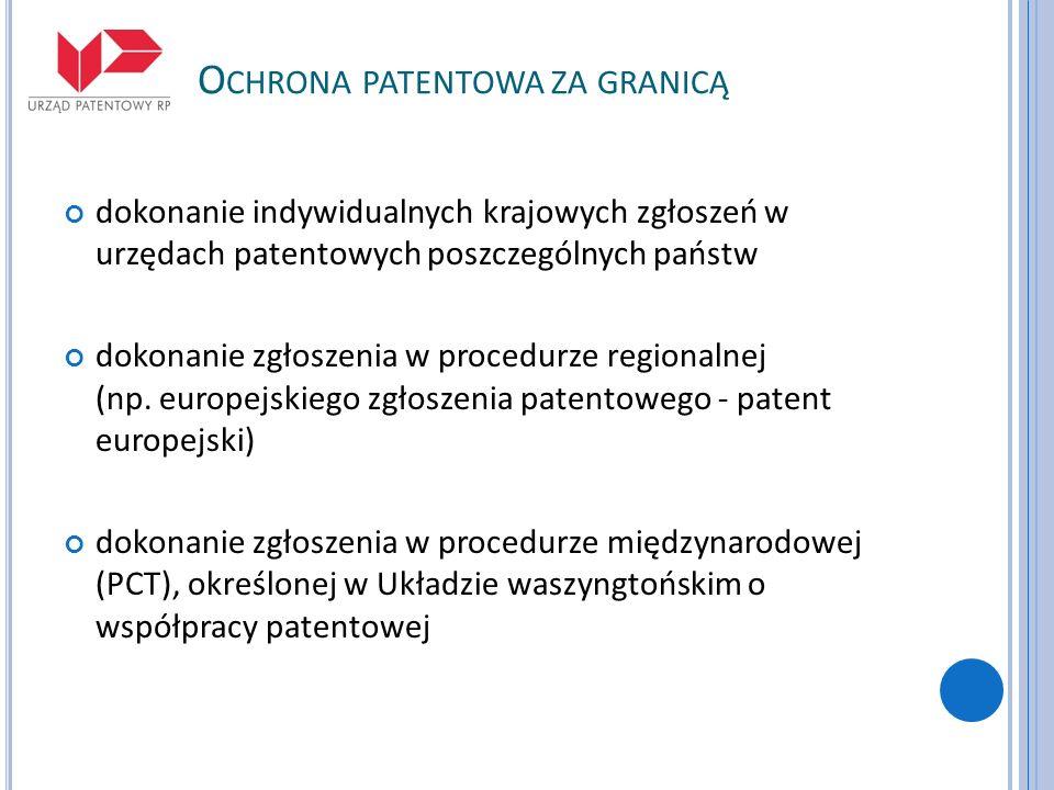 O CHRONA PATENTOWA ZA GRANICĄ dokonanie indywidualnych krajowych zgłoszeń w urzędach patentowych poszczególnych państw dokonanie zgłoszenia w procedur