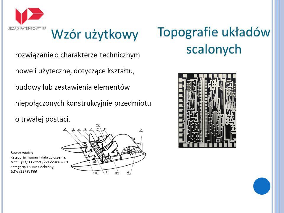 Topografie układów scalonych Wzór użytkowy Rower wodny Kategoria, numer i data zgłoszenia: UZY: (21) 112060, (22) 27-03-2001 Kategoria i numer ochrony
