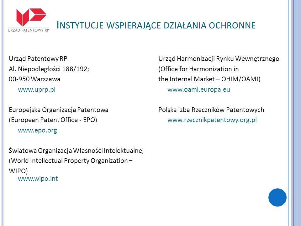 I NSTYTUCJE WSPIERAJĄCE DZIAŁANIA OCHRONNE Urząd Patentowy RP Al. Niepodległości 188/192; 00-950 Warszawa www.uprp.pl Europejska Organizacja Patentowa