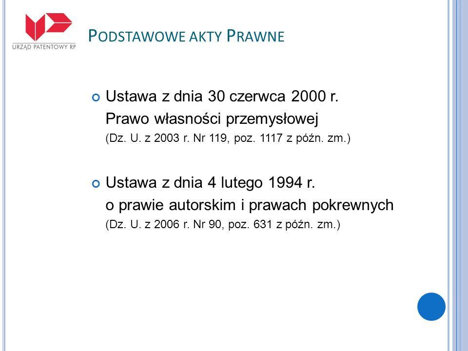 P ODSTAWOWE AKTY P RAWNE Ustawa z dnia 30 czerwca 2000 r. Prawo własności przemysłowej (Dz. U. z 2003 r. Nr 119, poz. 1117 z późn. zm.) Ustawa z dnia