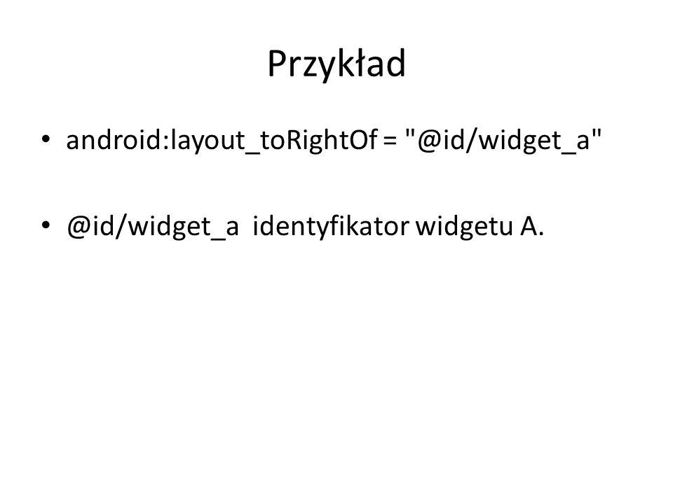 Przykład android:layout_toRightOf =