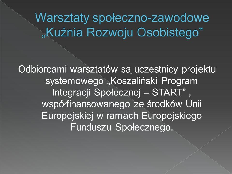 Odbiorcami warsztatów są uczestnicy projektu systemowego Koszaliński Program Integracji Społecznej – START, współfinansowanego ze środków Unii Europej