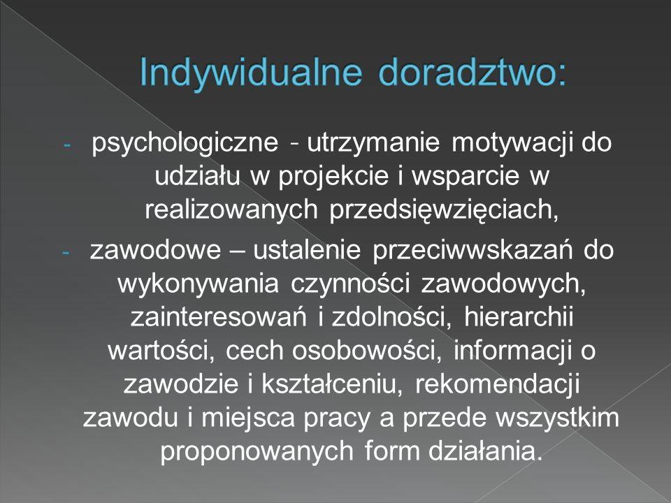 - psychologiczne - utrzymanie motywacji do udziału w projekcie i wsparcie w realizowanych przedsięwzięciach, - zawodowe – ustalenie przeciwwskazań do