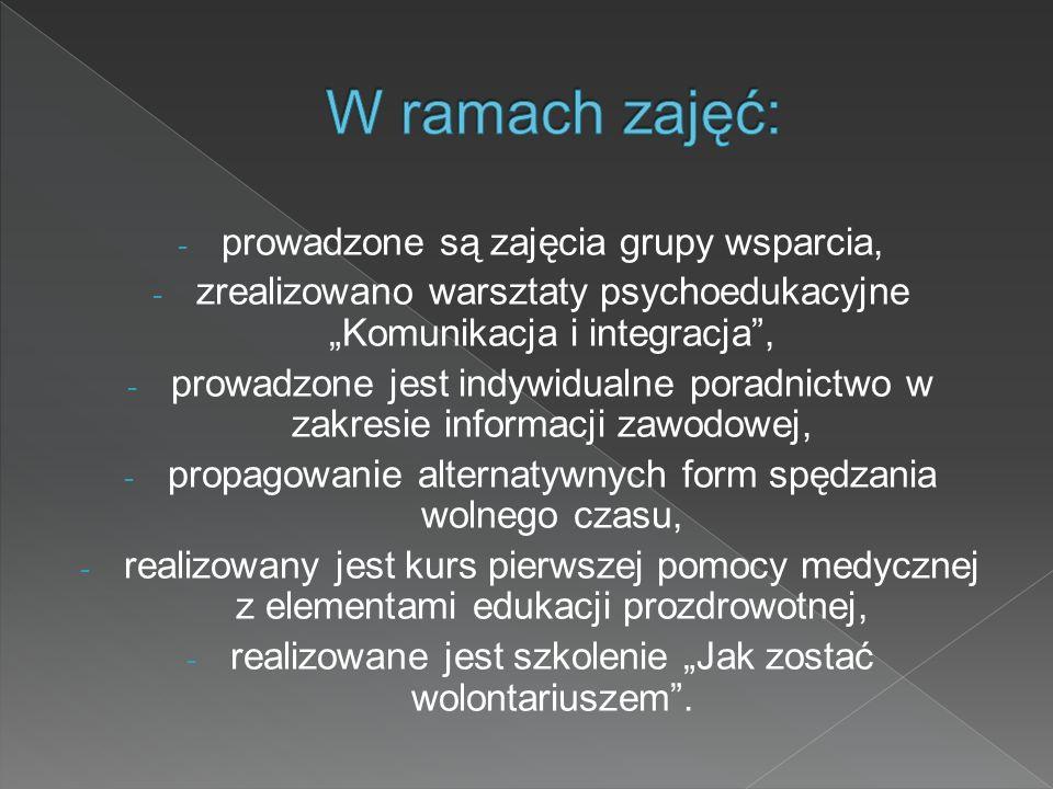 - prowadzone są zajęcia grupy wsparcia, - zrealizowano warsztaty psychoedukacyjne Komunikacja i integracja, - prowadzone jest indywidualne poradnictwo