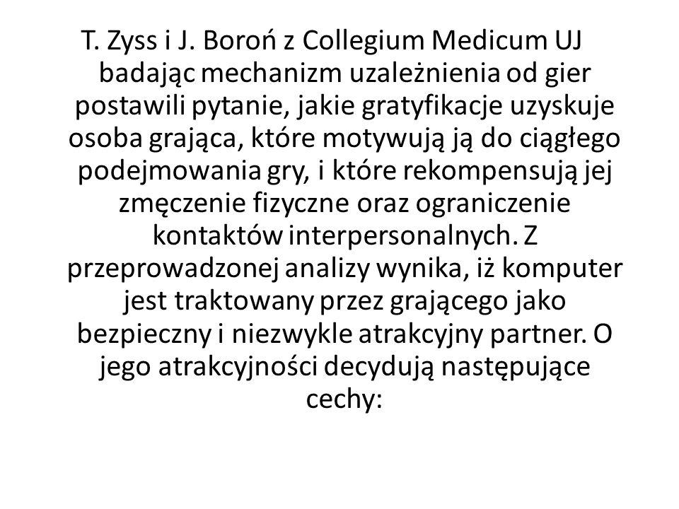T. Zyss i J. Boroń z Collegium Medicum UJ badając mechanizm uzależnienia od gier postawili pytanie, jakie gratyfikacje uzyskuje osoba grająca, które m