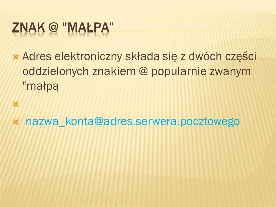 Adres elektroniczny składa się z dwóch części oddzielonych znakiem @ popularnie zwanym małpą nazwa_konta@adres.serwera.pocztowego