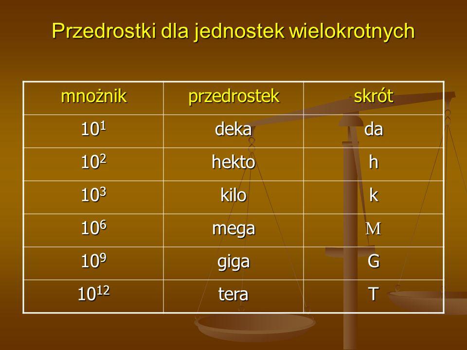 Przedrostki dla jednostek wielokrotnych mnożnikprzedrostekskrót 10 1 dekada 10 2 hektoh 10 3 kilok 10 6 mega 10 9 gigaG 10 12 teraT