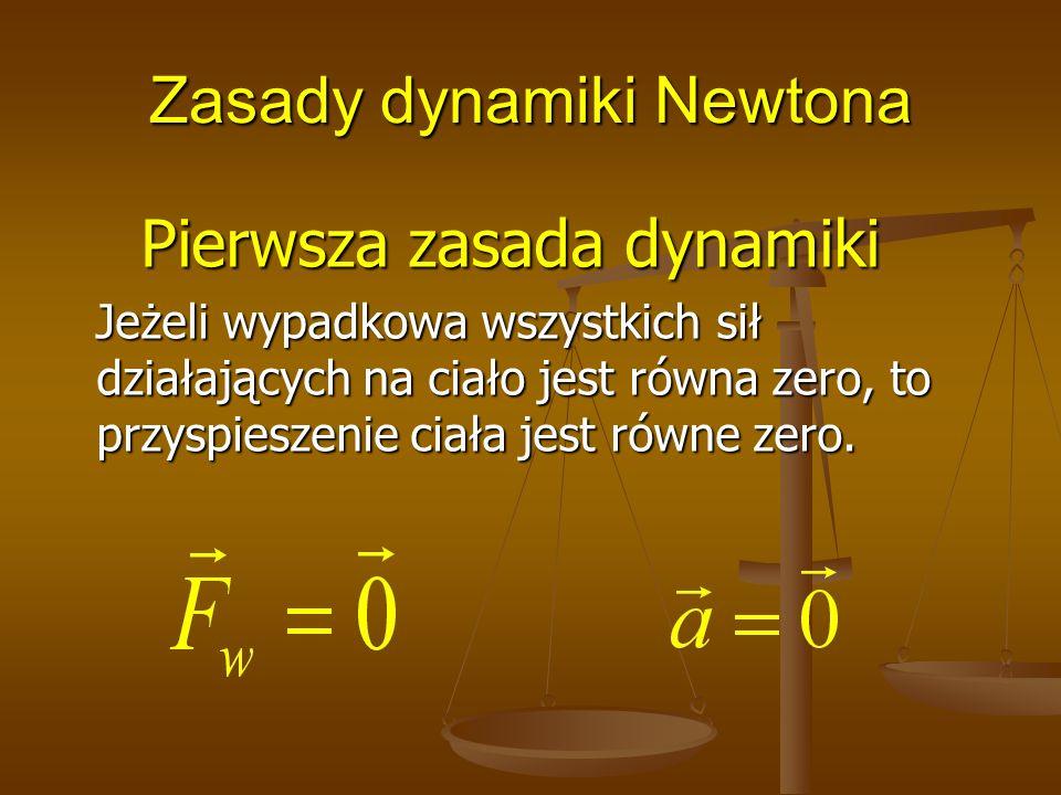 Zasady dynamiki Newtona Pierwsza zasada dynamiki Jeżeli wypadkowa wszystkich sił działających na ciało jest równa zero, to przyspieszenie ciała jest r